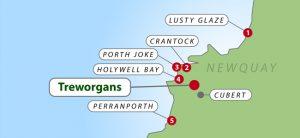 Map of beaches near Treworgans